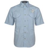 Light Blue Short Sleeve Performance Fishing Shirt-Bulldog Head