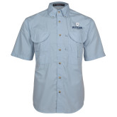 Light Blue Short Sleeve Performance Fishing Shirt-Butler University Stacked Bulldog Head