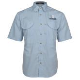 Light Blue Short Sleeve Performance Fishing Shirt-Butler University Stacked Bulldog Head