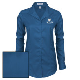 Ladies Red House Deep Blue Herringbone Non Iron Long Sleeve Shirt-Butler University Stacked Bulldog Head