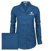 Ladies Red House Deep Blue Herringbone Non Iron Long Sleeve Shirt-Butler University Stacked Bulldog Head