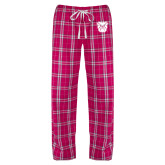 Ladies Dark Fuchsia/White Flannel Pajama Pant-Bulldog Head
