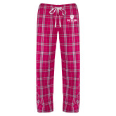 Ladies Dark Fuchsia/White Flannel Pajama Pant-Butler University Stacked Bulldog Head
