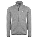 Grey Heather Fleece Jacket-Bulldog Head