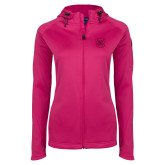 Ladies Tech Fleece Full Zip Hot Pink Hooded Jacket-Bulldog Head