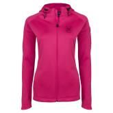 Ladies Tech Fleece Full Zip Hot Pink Hooded Jacket-Bulldog Head