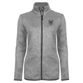 Grey Heather Ladies Fleece Jacket-Bulldog Head