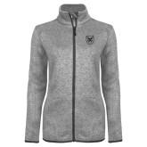 Grey Heather Ladies Fleece Jacket-Bulldog Head