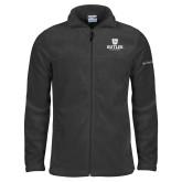 Columbia Full Zip Charcoal Fleece Jacket-Butler University Stacked Bulldog Head