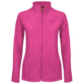 Ladies Fleece Full Zip Raspberry Jacket-Bulldog Head