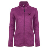 Dark Pink Heather Ladies Fleece Jacket-Bulldog Head