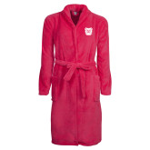 Ladies Pink Raspberry Plush Microfleece Shawl Collar Robe-Bulldog Head