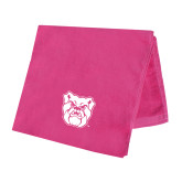 Pink Beach Towel-Bulldog Head