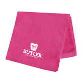 Pink Beach Towel-Butler University Stacked Bulldog Head