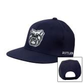 Navy Flat Bill Snapback Hat-Bulldog Head