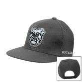 Charcoal Flat Bill Snapback Hat-Bulldog Head