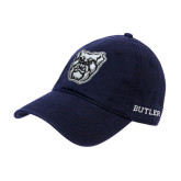 Navy Twill Unstructured Low Profile Hat-Bulldog Head