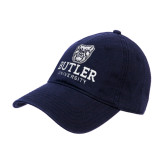 Navy Twill Unstructured Low Profile Hat-Butler University Stacked Bulldog Head