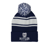 Navy/White Two Tone Knit Pom Beanie with Cuff-Butler University Stacked Bulldog Head