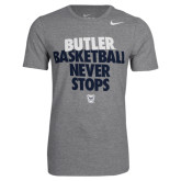 NIKE Dark Grey Heather Basketball Never Stops Short Sleeve Tee-