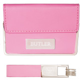 Business Card Case and Key Ring Set Pink-Butler Engraved