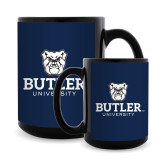 Full Color Black Mug 15oz-Butler University Stacked Bulldog Head