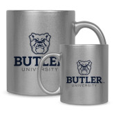 Full Color Silver Metallic Mug 11oz-Butler University Stacked Bulldog Head
