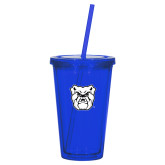 Madison Double Wall Blue Tumbler w/Straw 16oz-Bulldog Head