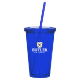 Madison Double Wall Blue Tumbler w/Straw 16oz-Butler University Stacked Bulldog Head