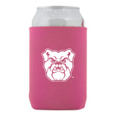 Neoprene Hot Pink Can Holder-Bulldog Head