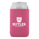 Collapsible Hot Pink Can Holder-Butler University Stacked Bulldog Head