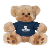 Plush Big Paw 8 1/2 inch Brown Bear w/Navy Shirt-Butler University Stacked Bulldog Head