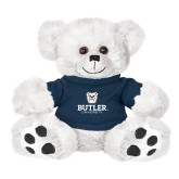 Plush Big Paw 8 1/2 inch White Bear w/Navy Shirt-Butler University Stacked Bulldog Head