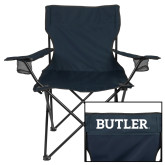 Deluxe Navy Captains Chair-Bulldog Head