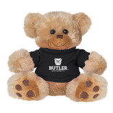 Plush Big Paw 8 1/2 inch Brown Bear w/Black Shirt-Butler University Stacked Bulldog Head