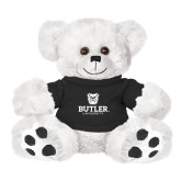 Plush Big Paw 8 1/2 inch White Bear w/Black Shirt-Butler University Stacked Bulldog Head