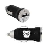 On the Go Black Car Charger-Bulldog Head