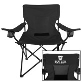 Deluxe Black Captains Chair-Butler University Stacked Bulldog Head