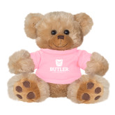 Plush Big Paw 8 1/2 inch Brown Bear w/Pink Shirt-Butler University Stacked Bulldog Head
