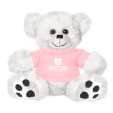 Plush Big Paw 8 1/2 inch White Bear w/Pink Shirt-Butler University Stacked Bulldog Head