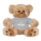 Plush Big Paw 8 1/2 inch Brown Bear w/Grey Shirt-Butler University Stacked Bulldog Head
