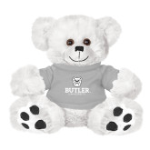Plush Big Paw 8 1/2 inch White Bear w/Grey Shirt-Butler University Stacked Bulldog Head