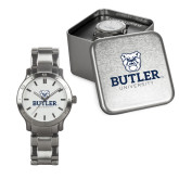Mens Stainless Steel Fashion Watch-Butler University Stacked Bulldog Head