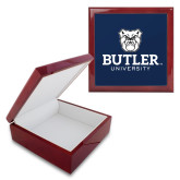 Red Mahogany Accessory Box With 6 x 6 Tile-Butler University Stacked Bulldog Head