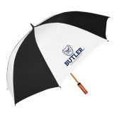 62 Inch Black/White Umbrella-Butler University Stacked Bulldog Head