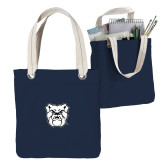 Allie Navy Canvas Tote-Bulldog Head