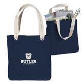 Allie Navy Canvas Tote-Butler University Stacked Bulldog Head
