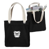 Allie Black Canvas Tote-Bulldog Head