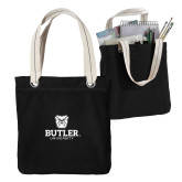Allie Black Canvas Tote-Butler University Stacked Bulldog Head