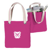 Allie Fuchsia Canvas Tote-Bulldog Head